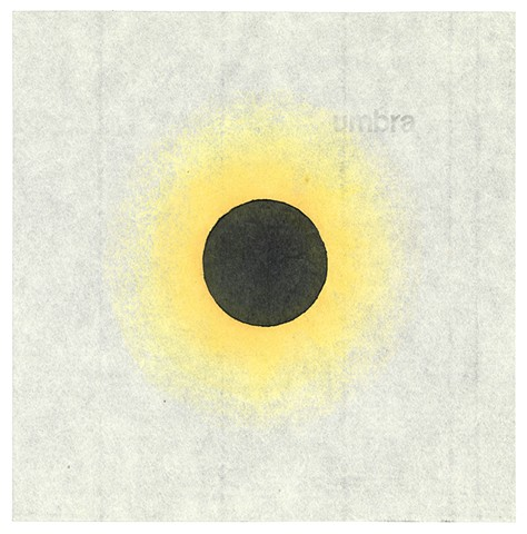 Woodblock print by Annie Bissett depicting an eclipse, a black circle with yellow glow