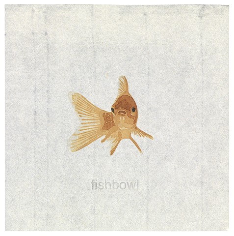 Woodblock print of goldfish by artist illustrator Annie Bissett depicting a secret code word of the NSA called fishbowl