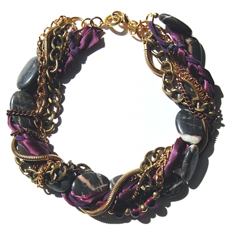 Holy Harlot Jewelry Gray Jasper Purple Brass Multi Twist Choker Braid Leather Chains Holy Harlot Jewelry Edgy Eclectic Urban