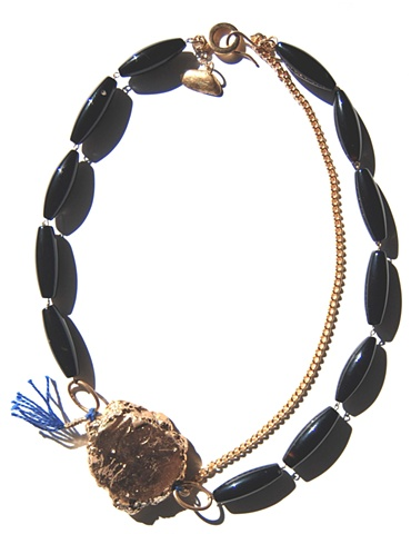 Holy Harlot Jewelry Tearoom Necklace Raw Gilt Agate Slice Polished Black Agate Gold Curb Chain Holy Harlot Jewelry