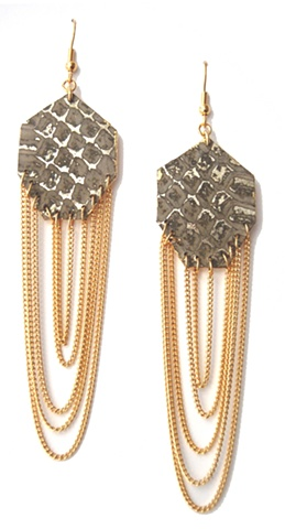 Holy Harlot Jewelry Gem Earrings Genuine Snakeskin Gold Gilt Leather Curb Chains Holy Harlot Jewelry Handmade Urban Edgy Eclectic
