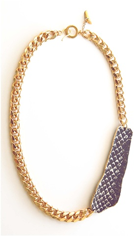 Holy Harlot Jewelry Graffiti Necklace Authentic Snakeskin Gold Curb Chain Hip Hop Urban Eclectic Edgy Holy HArlot Jewelry