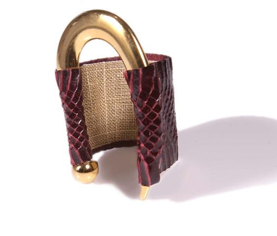 Signature Snakeskin Cuff Authentic Python Gold Holy HArlot Jewelry