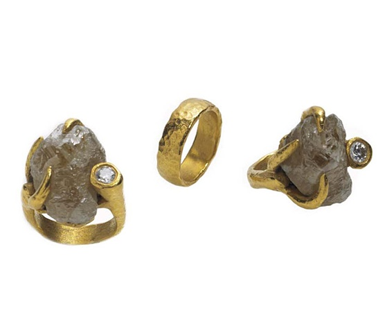 Holy Harlot Jewelry Magdalen Ring Uncut Rough Diamond 24k Gold Holy Harlot Jewelry Custom