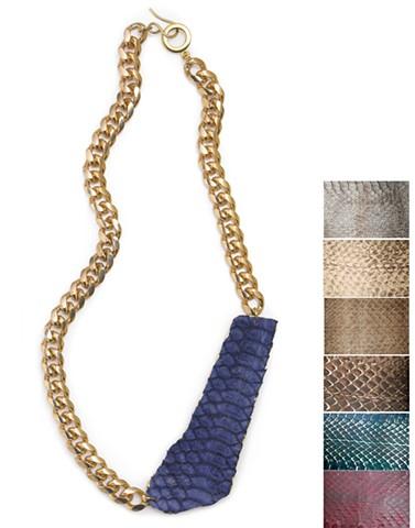 Holy Harlot Jewelry Graffiti Snakeskin Necklace Genuine Python Signature Holy Harlot Jewelry Gold Silver Curb Chain Handmade NYC
