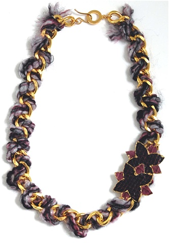 Holy Harlot Jewelry Coco Woven Necklace Gold Purple Snakeskin Thread Holy Harlot Jewelry