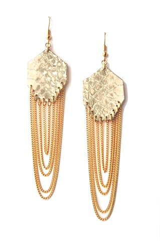 Holy Harlot Jewelry Gem Earrings Ivory Foil Genuine Snakeskin gilt gold leather curb chain holy harlot jewelry handmade urban edgy eclectic punk rock n roll graffiti