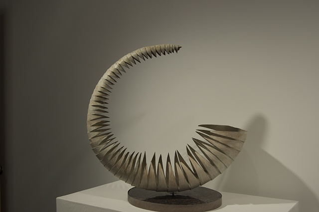 """Ouroboros""  2011  Granite, Red Oak  23""x10""x25"""