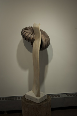 """Host""  2011  Red Oak, Marble, White Pine  20""x24""x42"""