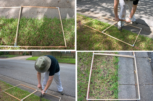 "Photos of gridding, augering, burying silk and photographing every 30"" x 30"" square of our yard."