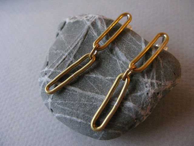 brass link earrings