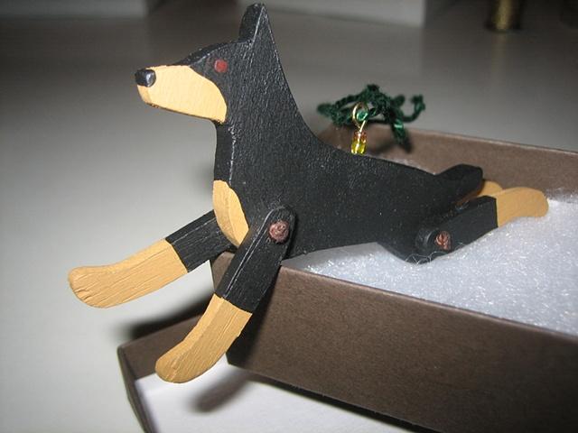 wooden doberman pinscher jointed ornament