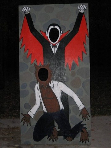dracula and wolfman monster cutout halloween