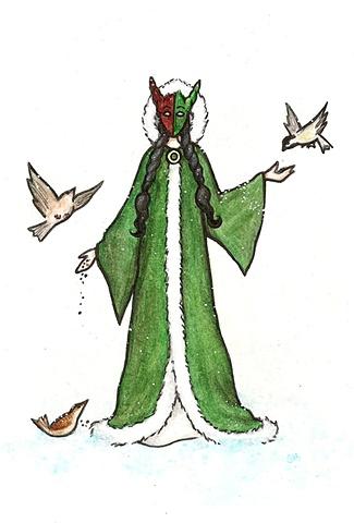 masked pagan winter girl