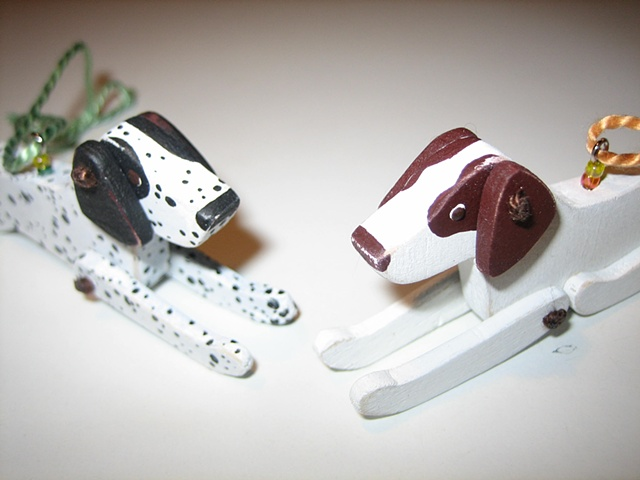 custom english pointer wooden jointed ornaments