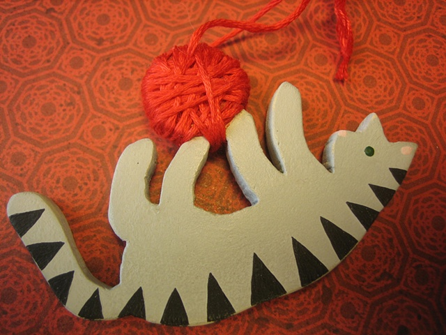 gray striped kitty wooden ornamant