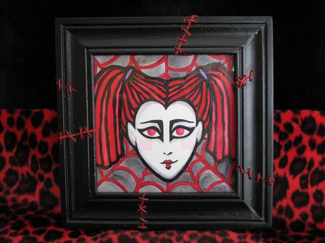 spooky goth girl red dreadlocks watercolor