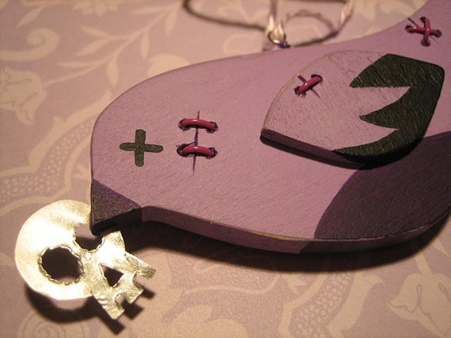 wooden purple zombie bird ornament