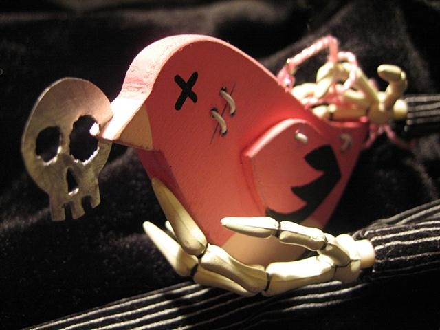 pink zombie brid ornament