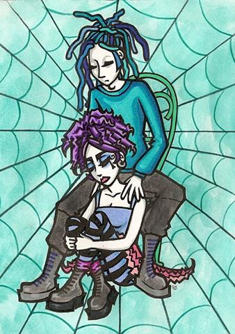 sad spooky couple, goth, spiderwebs