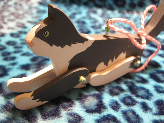 custom painted wooden jointed cat ornament
