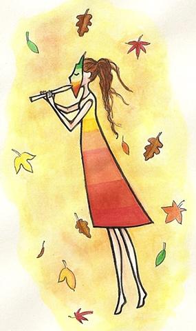 autumn pagan girl flute watercolor