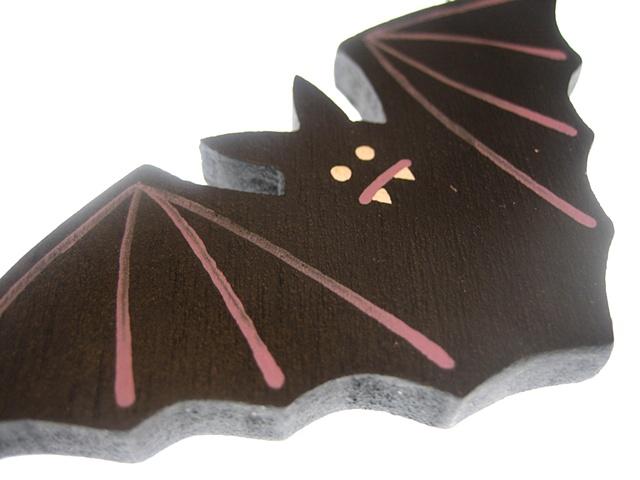 black bat wooden ornamant