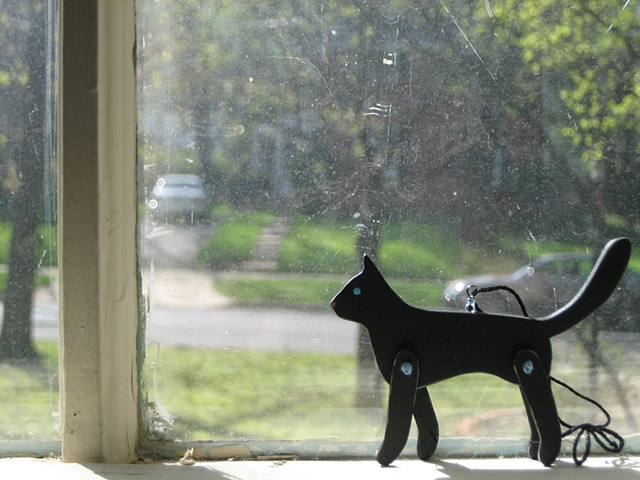 black cat wooden jointed ornamant