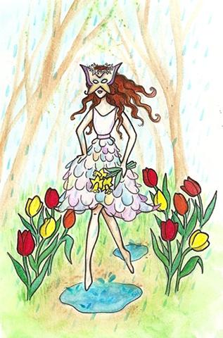 spring rain tulips watercolor