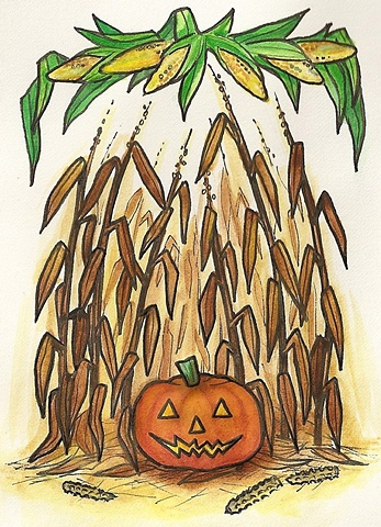 autumn corn pumpkin jack-o-lantern watercolor