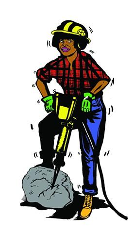 Construction Lady with jackhammer