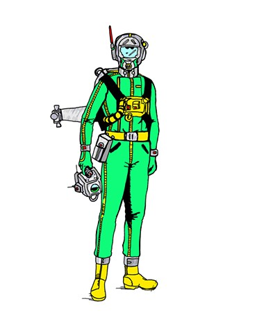 Man in green space suit