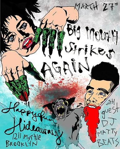 Flyer For Happy Fun Hideaway New York, Morrissey eating a bat