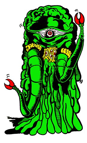 Green slime monster with tentacles