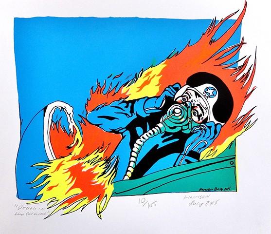 5 Color Screen-print of man burning alive in Cockpit