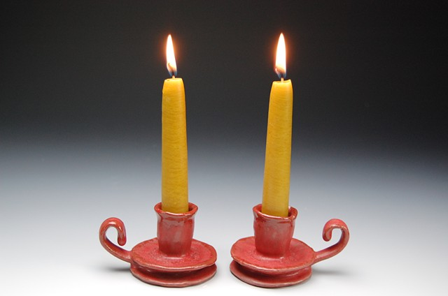 candle stick holder red
