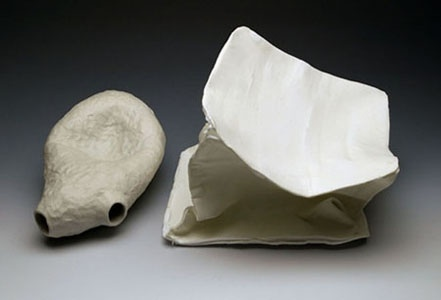 still life stone ware with terra sigillata (left) ceramic fiber paper with porcelain slip (right)