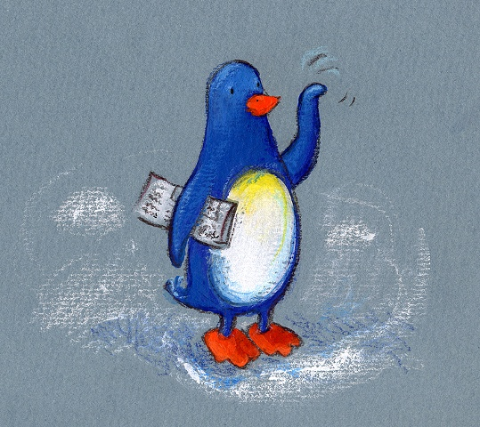 penguin illustration childrens books waving
