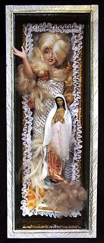 "Woman as Virgin or Whore assemblage 23""x9""x7.25"""