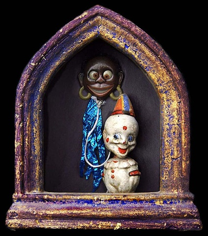 "Topsy and the Ghost of Jim Crow assemblage 19.5""x9""x4"""
