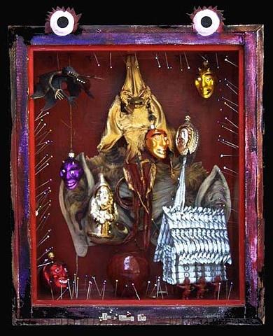 "Devil as Bogeyman assemblage 19.5""x16.5""x6"""
