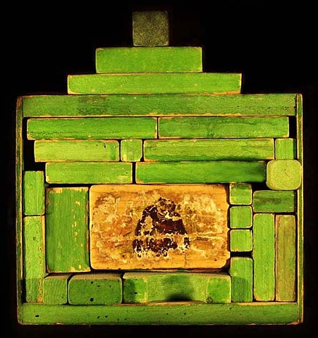 """Monkey in the Box assemblage 9""""x8""""x3"""""""