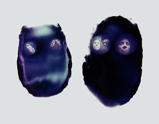 "Nancy and Me 3 ""Through Each Other's Eyes""  Two Plaster Face Pinhole Cameras Cibachrome pinhole photograph 14""x11"""