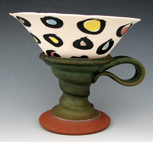 Cast Porcelain Cup in a Lizella Red Holder