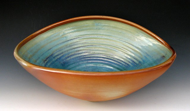 19 inch Anagama Bowl with Blue Glaze