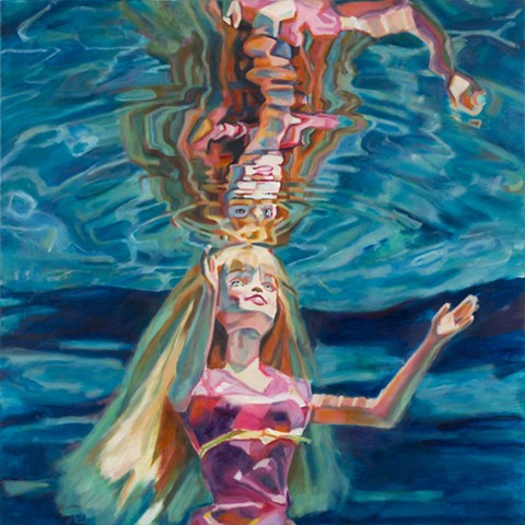 "Oil painting of Barbie Doll and her reflection from Daena Title's ""Drown the Dolls"" series"