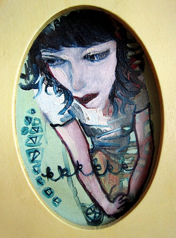 oil on silk oval painting Stacy Novak