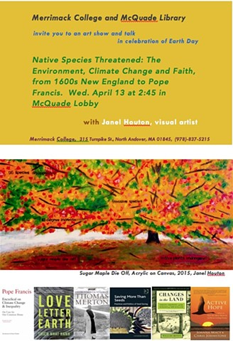 Flyer for talk, Native Species threatened, at Merrimack College, 2016.
