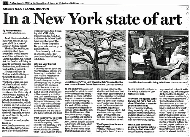 "Waltham Tribune ""Artist Q & A: Janel Houton, In a New York State of Art""  June 3, 2012"