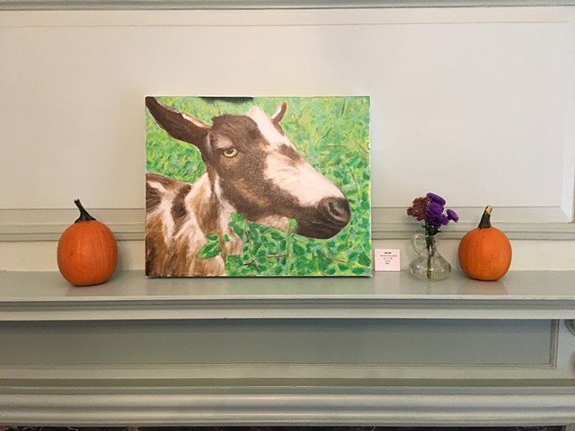 """Jacob"" is a portrait of a resident goat, now in the collection of the wildlife sanctuary."